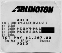Race 2 Superfecta Payoff Receipt at Arlington Park