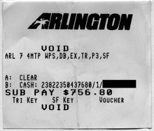 Race 6 Superfecta Payoff Receipt at Arlington Park