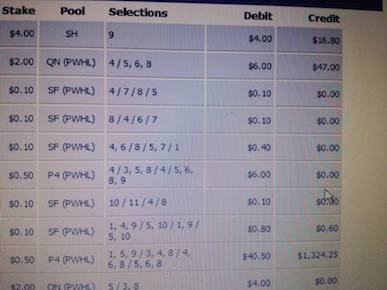 Ben's $1324 Pick 4 at Del Mar