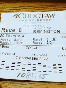 Winning Pick 4 Ticket at Remington